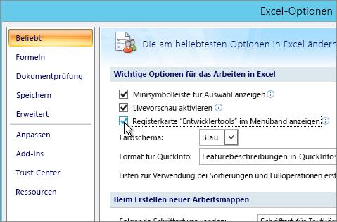 """Option """"Registerkarte 'Entwicklertools'"""" im Menüband anzeigen"""""""