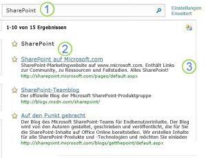Drei beste Suchergebnisse für 'SharePoint Server' werden oben auf der Suchergebnisseite angezeigt.
