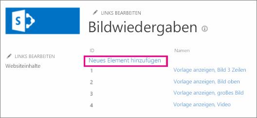 """Screenshot von """"Neues Element hinzufügen"""""""