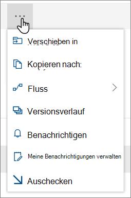 """Die Menü Optionen """"Verschieben in"""" und """"Kopieren nach"""" in der oberen Navigationsleiste für SharePoint Online, wenn Dateien oder Ordner ausgewählt sind"""