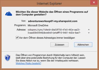 Screenshot des Dialogfelds in Internet Explorer mit der Frage nach der Zustimmung zum Öffnen von Microsoft OneDrive