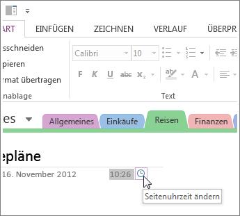 Sie können die Seitenerstellungszeit in OneNote ändern.