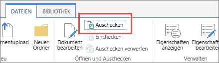 """Schaltfläche """"Auschecken"""" mit geöffneter QuickInfo"""