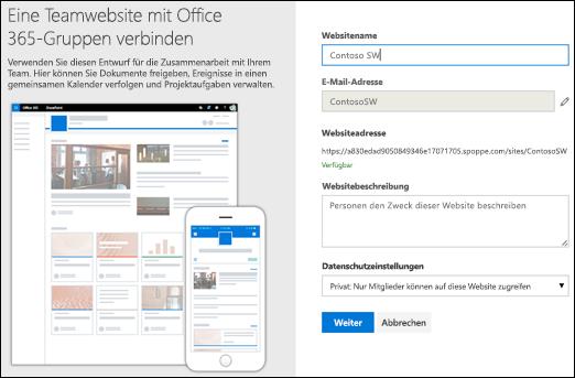 Neue SharePoint-Teamwebsite
