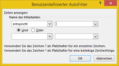 Benutzerdefinierter AutoFilter