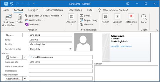 Hinzufügen eines Kontakts in Outlook