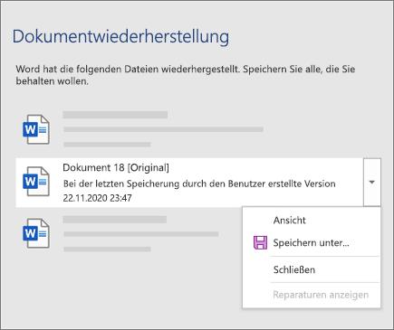 """Ein Originaldokument, das zuletzt von dem im Bereich """"Dokumentwiederherstellung"""" aufgeführten Benutzer gespeichert wurde"""