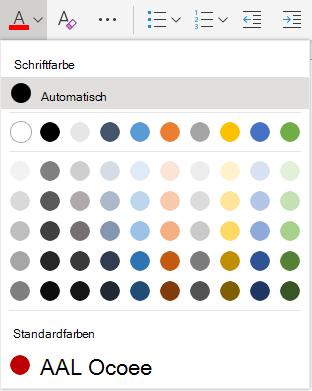 "Word Online-Auswahlmenü ""Schriftfarbe"""