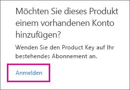 """Screenshot des eines Teils der Seite von """"Product Key einlösen"""" mit hervorgehobenem Link """"Anmelden"""""""