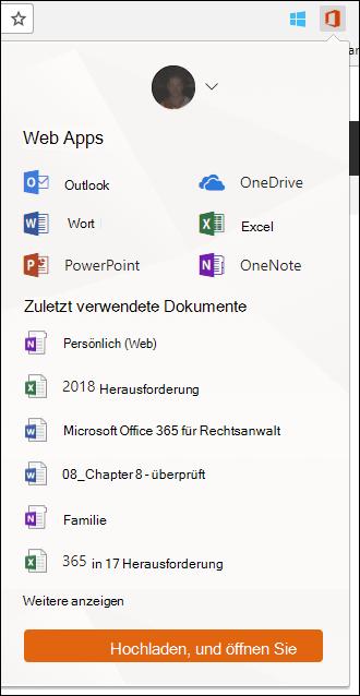 Klicken Sie auf die Office Online-Erweiterung in der Erweiterungen Chrome-Leiste, um den Bereich Office Online zu öffnen.