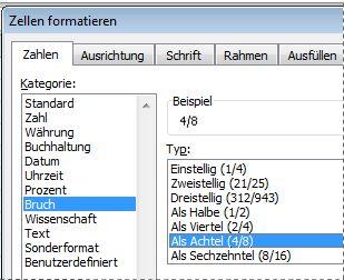 Anzeigen von Zahlen als Brüche - Excel