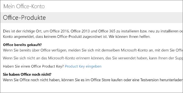 """Seite, die dann angezeigt wird, wenn Sie sich bei """"Mein Office-Konto"""" mit der falschen Kombination aus E-Mail-Adresse und Kennwort angemeldet haben"""