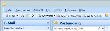 So sieht das Menüband in Outlook 2007 aus.