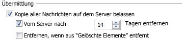 Delivery section on the Advanced tab of the Internet E-mail Settings dialog box