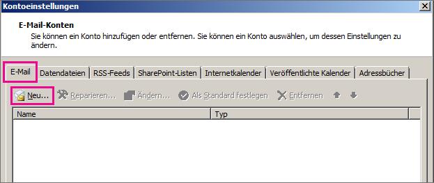 """Screenshot der Registerkarte """"E-Mail"""" im Dialogfeld """"Kontoeinstellungen""""."""