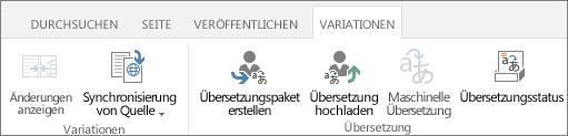 Screenshot der Registerkarte 'Variationen' von der Zielwebsite. Die Registerkarte enthält zwei Gruppen: 'Variation' und 'Übersetzung'