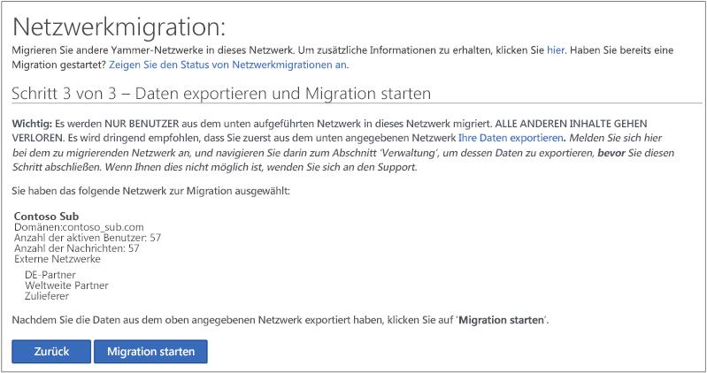 Screenshot von Schritt 3 von 3 – Daten exportieren und Migration starten