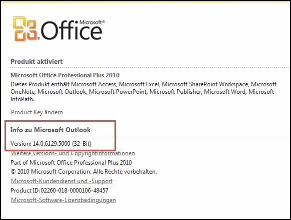 """Screenshot der Seite, auf der Sie die Outlook 2010-Version unter """"Info zu Microsoft Outlook"""" überprüfen können"""