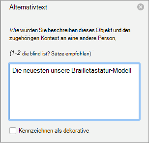 "Der Bereich ""Alternativtext"" in Word"