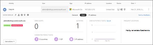 Klicken Sie auf einen Benutzernamen oder IP-Adresse, den Einzug relevanten Einblick in das Protokoll Aktivität angezeigt.