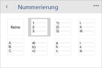 """Screenshot  des Menüs """"Nummerierung"""" in Word Mobile mit ausgewähltem Nummerierungsformat"""