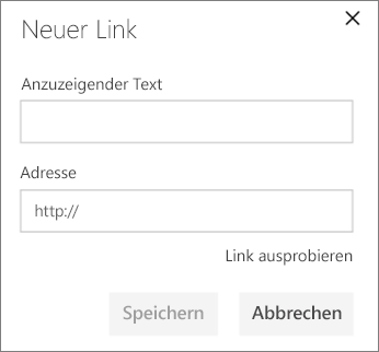 "Dialogfeld ""Neuer Link"""