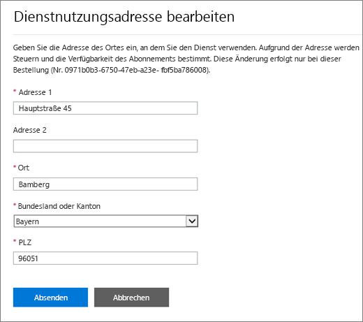 """Screenshot des Bereichs """"Dienstnutzungsadresse bearbeiten""""."""