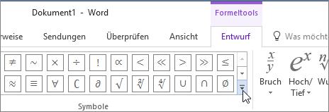 Suchen nach weiteren mathematischen Symbolen durch Klicken auf den entsprechenden Pfeil