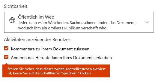 "Option ""Dokument herunterladen"" auf Docs.com"