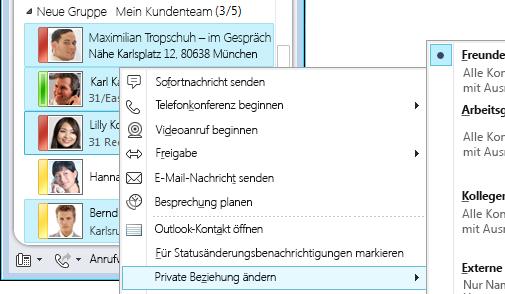 Personalisieren von Kontaktinformationen