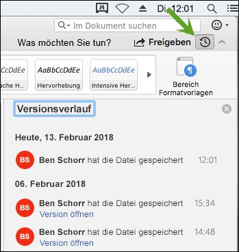 Schaltfläche Versionsverlauf öffnet Bereich Versionsverlauf, der Sie frühere Versionen des Dokuments auswählen können