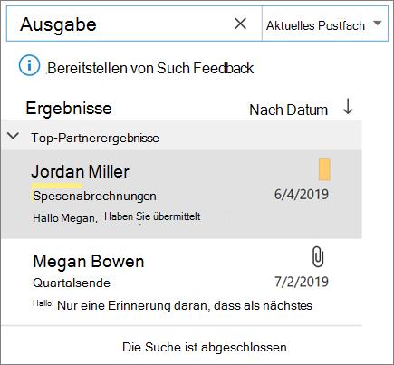 Verwenden der Suche zum Auffinden Ihrer e-Mails in Outlook
