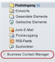 "Ordner ""Business Contact Manager"" im Navigationsbereich unter den Ordnern des Posteingangs"