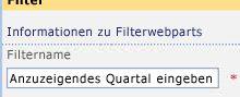 Geben Sie im Toolbereich im Feld 'Filtername' den Namen 'Anzuzeigendes Quartal eingeben' ein.