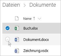 Screenshot der Auswahl einer Datei in der Listenansicht auf OneDrive