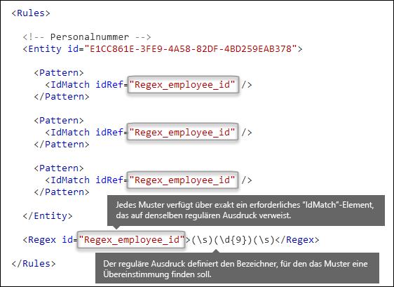 """XML-Markup mit mehreren """"Muster""""-Elementen, die auf ein einzelnes """"Regex""""-Element verweisen"""