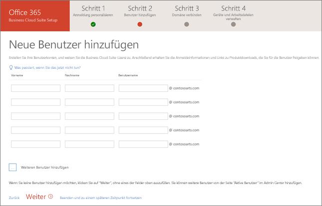 Screenshot zwei neuer Benutzer, die im Setup-Assistenten hinzugefügt wurden