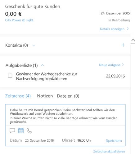 Hinzufügen einer neuen Aktivität in Outlook-Kunden-Manager