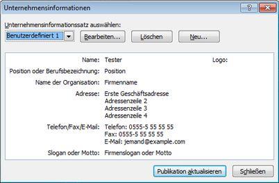 Bearbeiten eines Unternehmensinformationssatzes in Publisher 2010