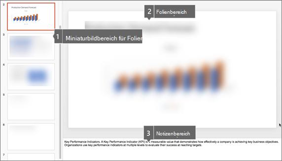 Der Miniaturansichtsbereich, der Folienbereich und der Notizenbereich in PowerPoint für Mac