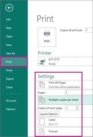 Auf 'Datei, Drucken' klicken, um Einstellungen zum Drucken in Publisher 2013 anzuzeigen