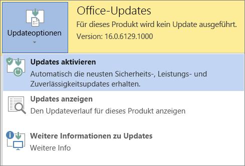 """Klicken Sie auf """"Updateoptionen"""", und aktivieren Sie dann Updates"""