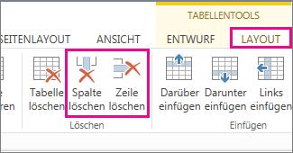 """Abbildung der Befehle """"Zeile löschen"""" und """"Spalte löschen"""" im Menüband unter """"Tabellentools"""" auf der Registerkarte """"Layout"""""""