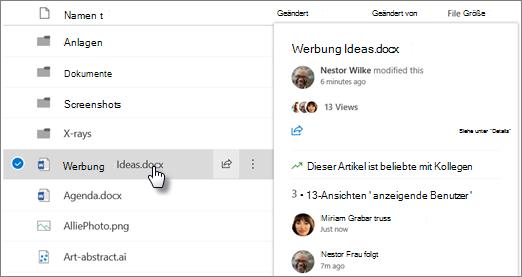 Screenshot der Datei Hover-Karte, die angezeigt wird, wenn Sie auf eine Datei in OneDrive oder SharePoint zeigen