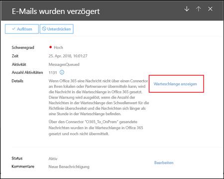 Die Flyout Warteschlange benachrichtigen Details in der Office 365-Sicherheit und Compliance-zentrieren