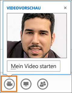 Screenshot zum Starten der Videoübertragung in einer Besprechung mit einer Videovorschau