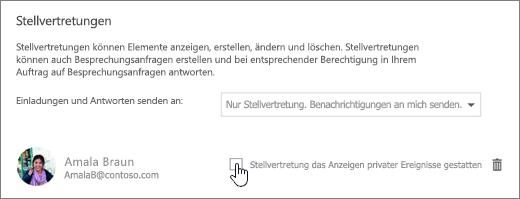 """Screenshot des Kontrollkästchens """"Stellvertretung das Anzeigen privater Ereignisse gestatten""""."""