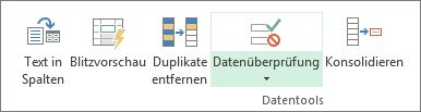 """""""Datenüberprüfung"""" befindet sich auf der Registerkarte """"Daten"""" in der Gruppe """"Datentools""""."""