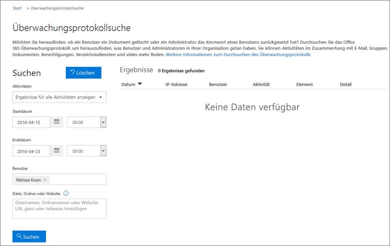 Office 365-Aktivitätsbericht, in dem alle Aktivitäten eines Extranet-Partners aufgeführt sind