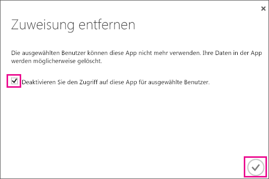 Zeigt das Azure AD-Dialogfeld mit dem Kontrollkästchen, das Sie aktivieren müssen, wenn Sie den Zugriff auf die Dienstvertrauensstellung für diesen Benutzer entfernen möchten. Wählen Sie als Nächstes das Symbol in der unteren rechten Ecke aus, um abzuschließen.